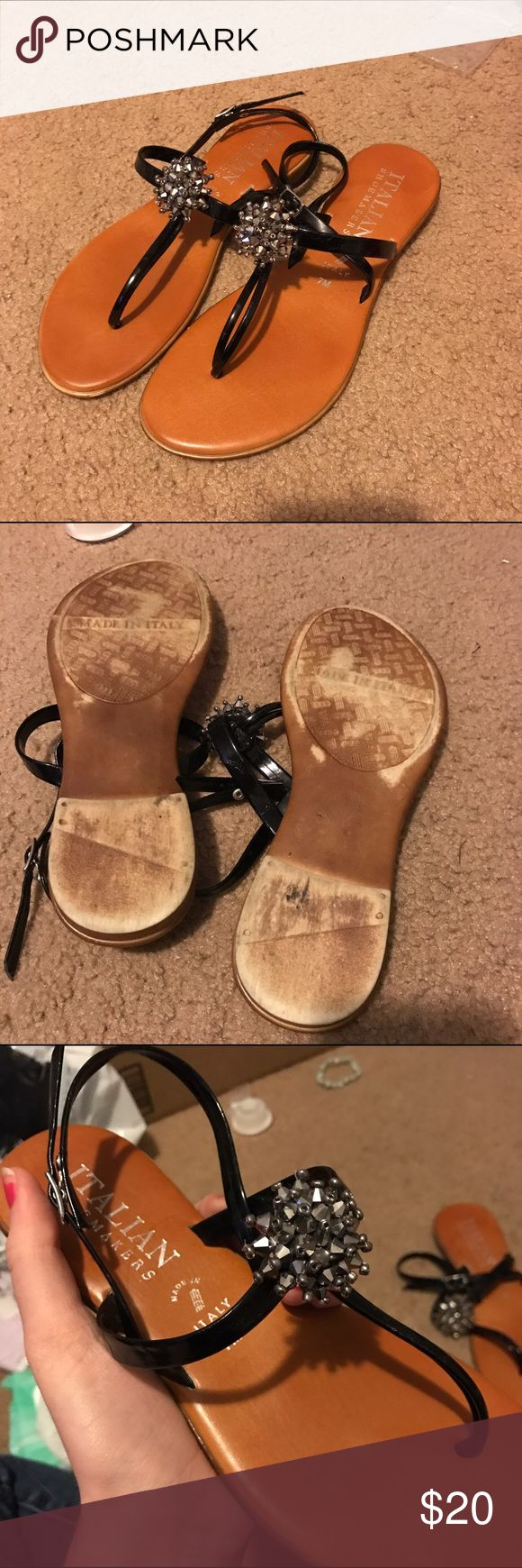 Italian Sandals Glamorous real Italian sandals from Italy. A bit scuffed on the bottom but in great condition otherwise. Feel free to make me an offer and don't forget to check out the rest of my closet because I offer a 30% discount of a bundle of 3 items or more! Italian Shoemakers Shoes Sandals