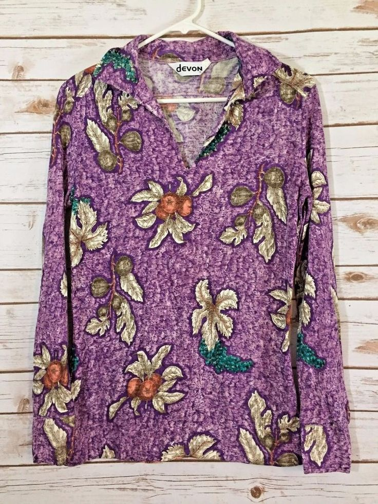 Vintage Devon Purple Fruit Flower Shirt 1970's Size Large (LL) #Devon