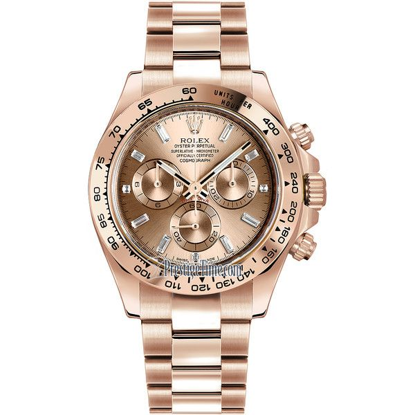 Rolex Cosmograph Daytona Everose Gold 116505 Pink Baguette Index Watch ($35,834)