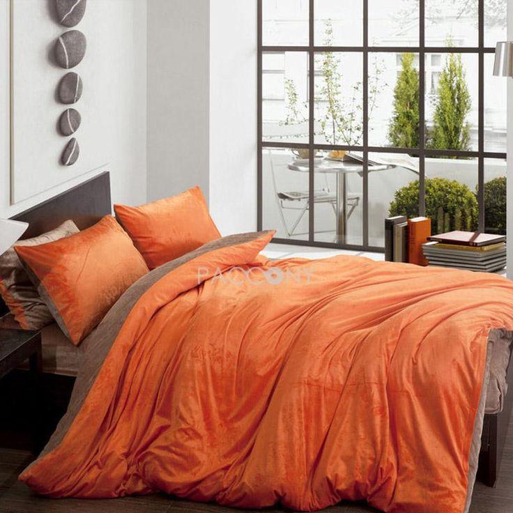 Solid Two Color Orange and Brown Velvet 4 Piece Queen
