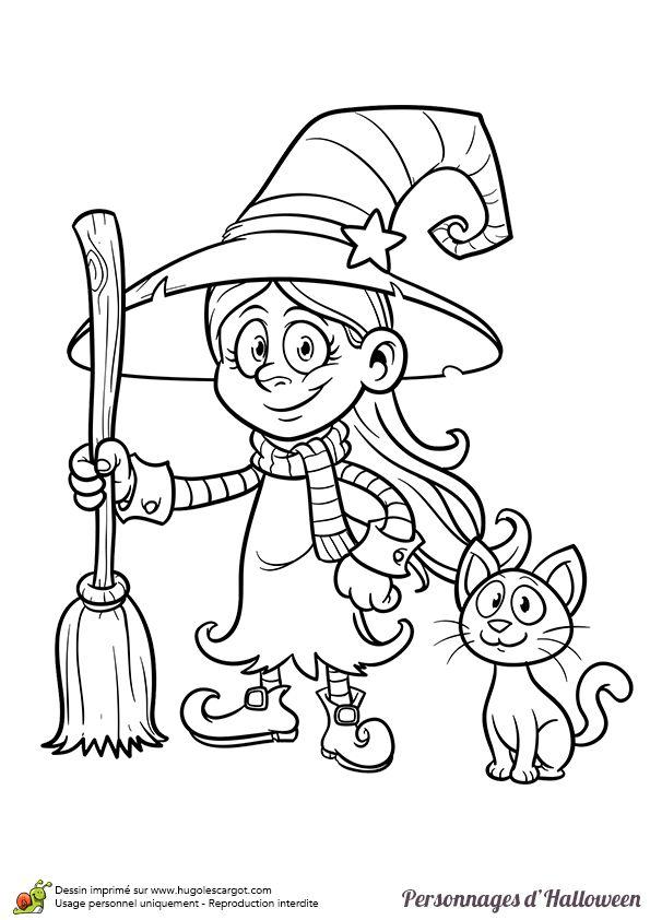 Coloriage d'un personnage légendaire d'Halloween, une fillette déguisée en sorcière - Hugolescargot.com