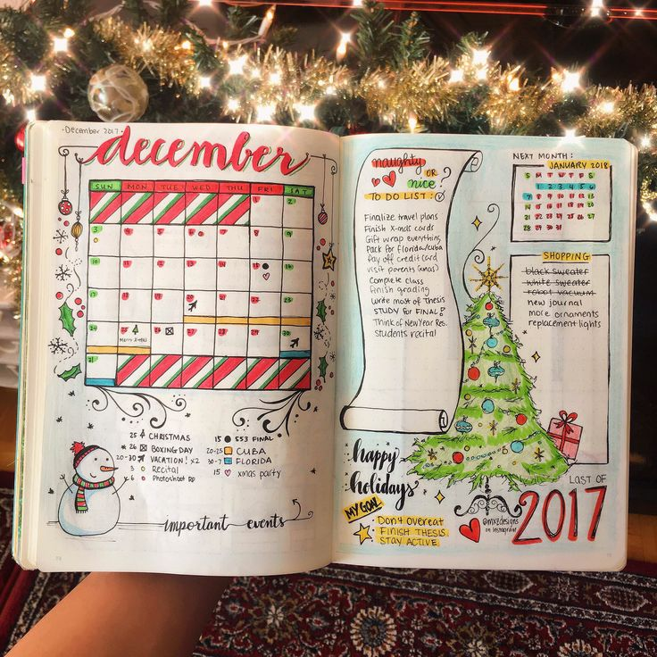 Bujo Christmas Theme Month Spread #bulletjournalmonthly