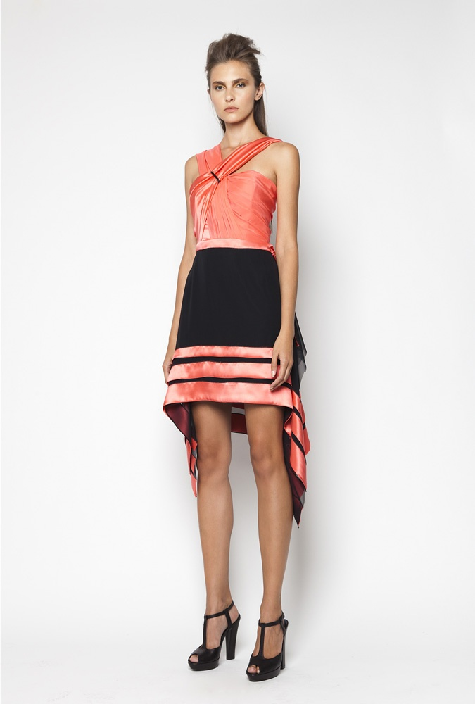 CHRISTOS COSTARELLOS SS12 Silk Chiffon & Silk Satin Mini Dress