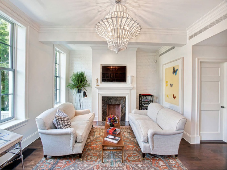 LOOK Six Story Townhouse With Views Of The Highline Marble FireplacesLiving Room