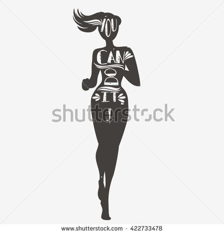 You can do it. Running girl. Motivational and inspirational illustration. Lettering. Sport/Fitness typographic poster. - stock vector