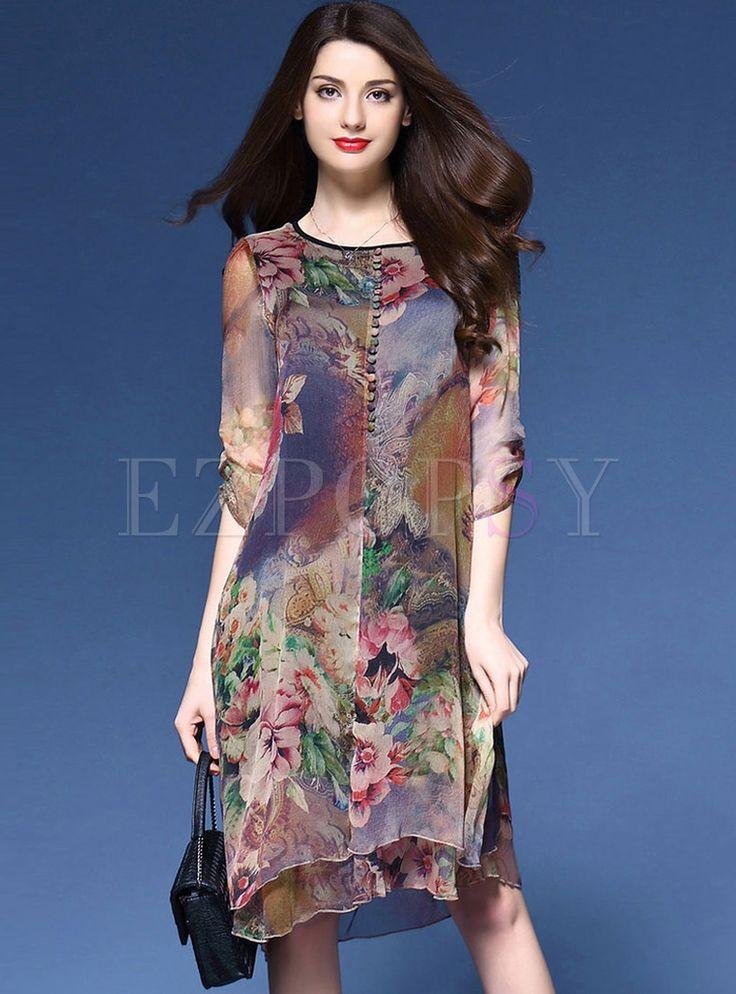 Vintage Multi Print vestido assimétrico solto