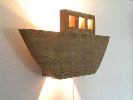 Lamp boot, boat, lightning, old wood, steigerhout, kinderkamer, kidsroom, Jugendzimmer, Boysroom. Jongenskamer.Stoere lamp.