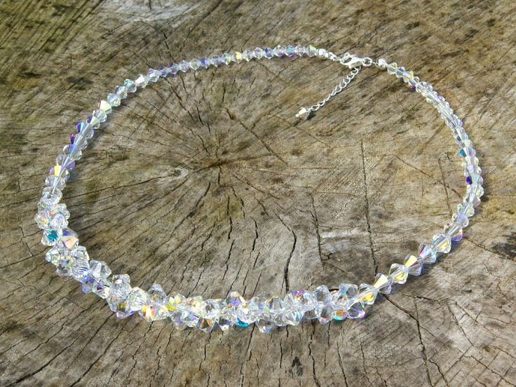 Swarovski Crystal Necklace Wedding Crystal Necklace Swarovski Choker Necklace Clear AB Necklace Swarovski Crystal AB Necklace by AuroraCrystalPassion on Etsy