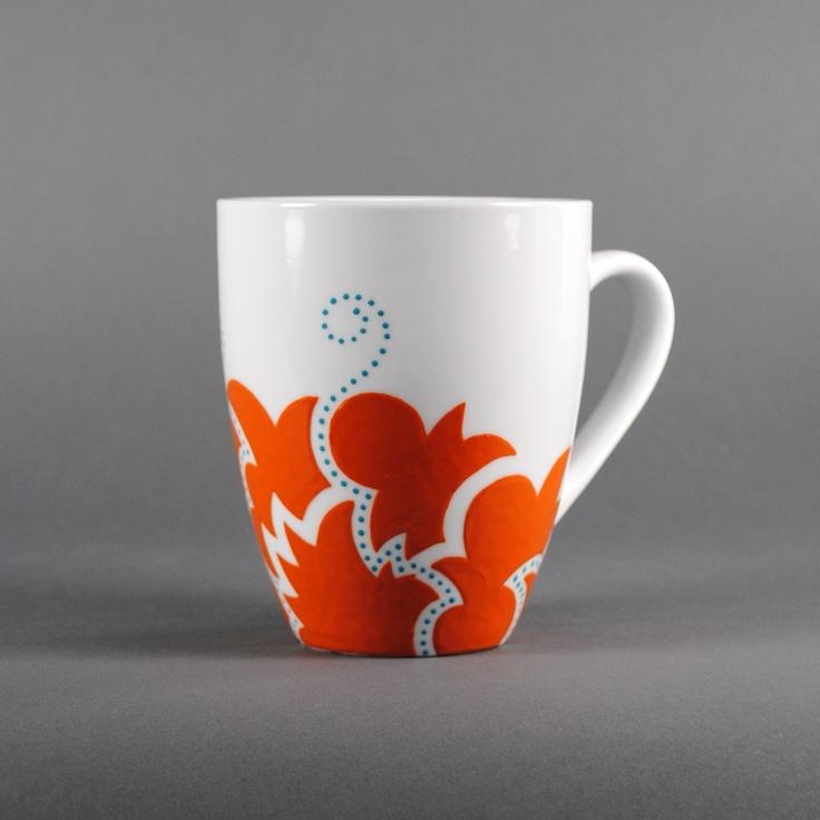 handpainted coffee mug  orange by MaryGallimoreStudio on Etsy, $40.00