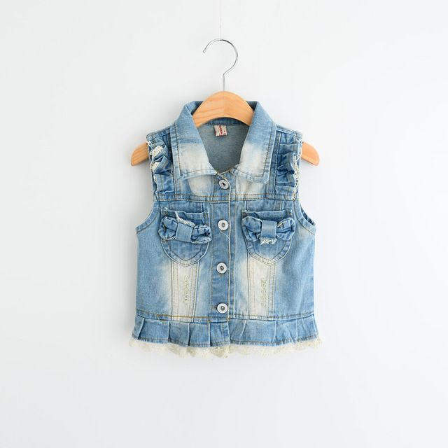 """Kids Denim Vest 2016 New Spring Baby Fashion Outerwear Cute Turn-down Collar Girls Denim Lace Vests Brand Children Coat 2-6Y US $63.56 /lot (5 pieces/lot) Specifics Outerwear TypeVest Department NameChildren Item TypeOuterwear & Coats Clothing LengthRegular Pattern TypeSolid Brand Nameca GenderGirls Style""""European and American Style Fabric TypeTwill MaterialCotton CollarTurn-down Collar Model Number603897  Click to Buy :http://goo.gl/t9O329"""