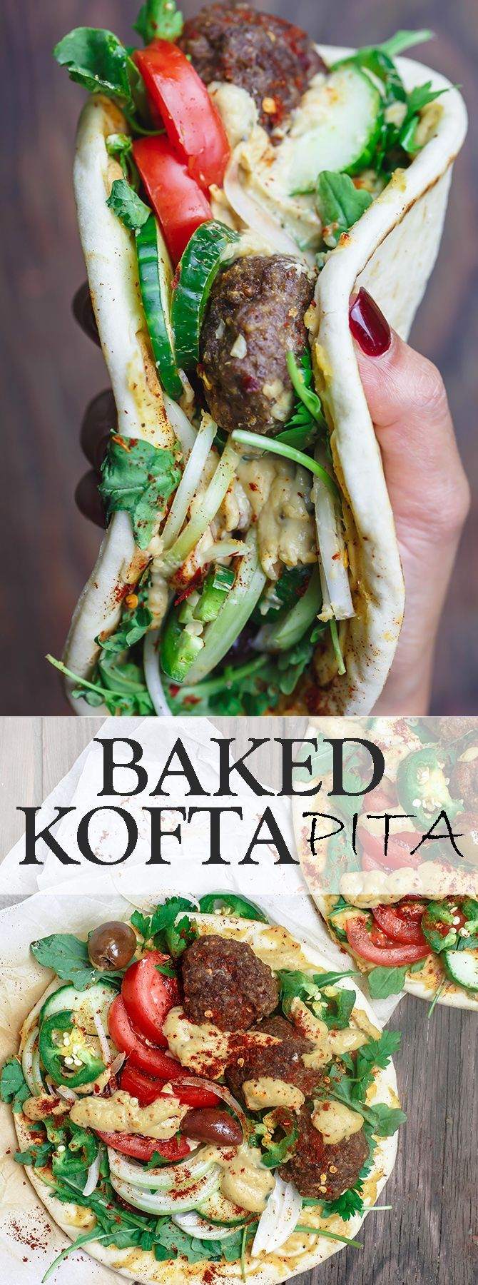 Baked Kofta Pita Sandwich | The Mediterranean Dish. Baked ground lamb kofta patties, flavored with warm Mediterranean spices, served on Greek pita with fresh veggies and hummus spread. Make it for an easy dinner, or setup a make-your-own-sandwich bar for your next party! See it step-by-step on http://TheMediterraneanDish.com #SabraSpreads