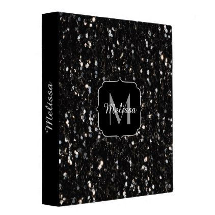 Black and white shiny glitter sparkles Monogram Binder - monogram gifts unique design style monogrammed diy cyo customize