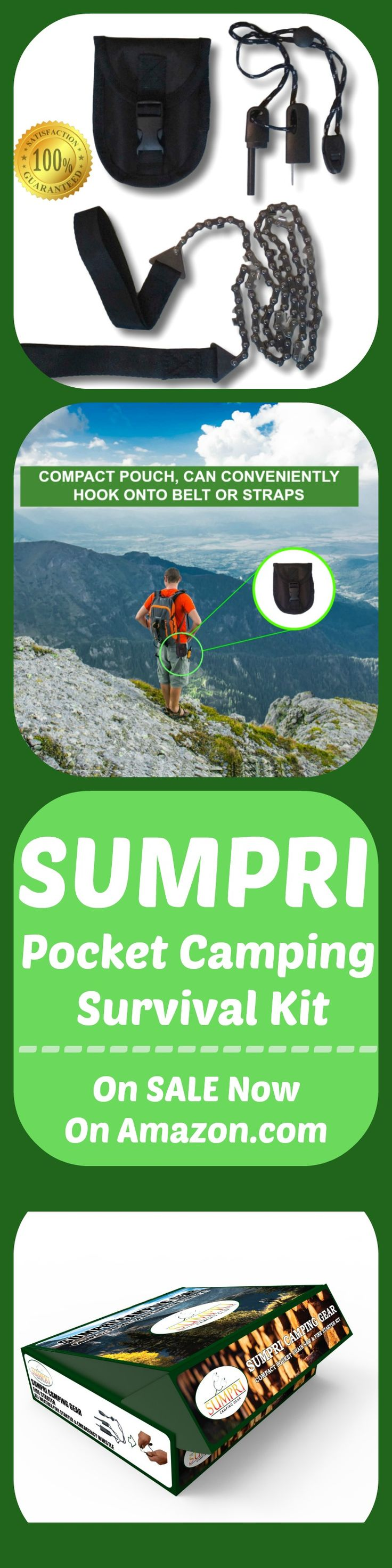 SUMPRI Camping Gear Pocket Chainsaw & Fire Starter Kit - 36 Inch Compact Hand Saw & Magnesium Spark Fire Rod -Best For Hiking, Survival & Emergency Equipment, Now on Amazon.com #sumpri #pocket #chainsaw #camping #gear #fire #starter #rod #logs #garden #log #tree #boyscout