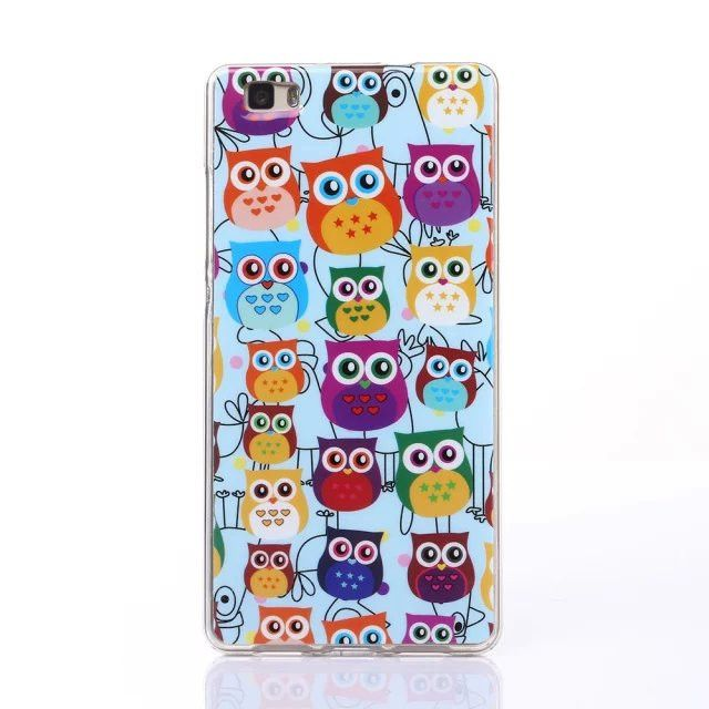 For Fundas Huawei P8 Lite Case Silicon Cartoon Animal Painting Soft TPU Back Cover P8lite Clear Transparent Case Capas Para