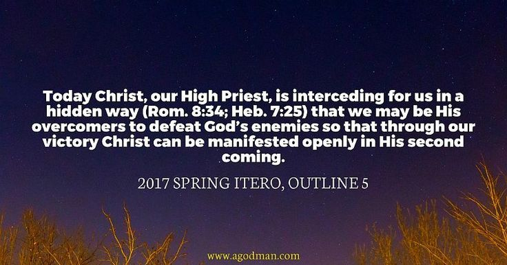 Today Christ, our High Priest, is interceding for us in a hidden way (Rom. 8:34; Heb. 7:25) that we may be His overcomers to defeat God's enemies so that through our victory Christ can be manifested openly in His second coming. 2017 spring ITERO, outline