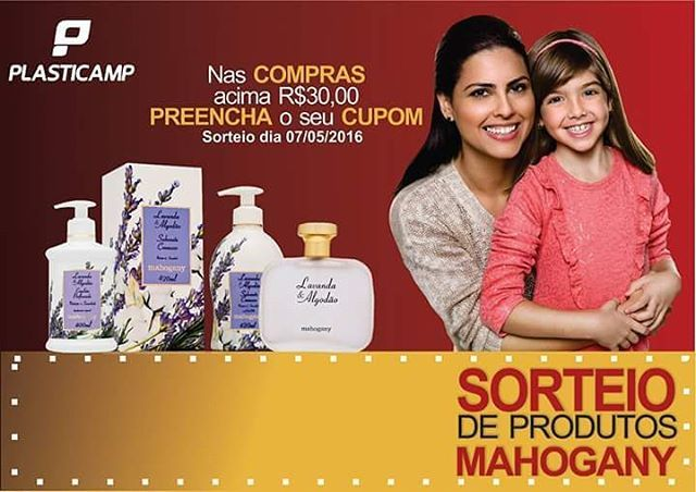 Nas Compras acima de R$30,00 você ganha um CUPOM para o SORTEIO dos produtos MAHOGANY cosméticos. #dia #das #mães #plasticamp #plasticamp #faz #o #melhor #para #você #aproveite #o #sorteio