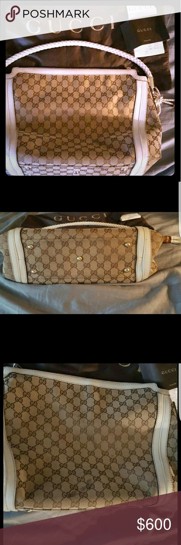Gucci purse Authentic gucci purse. Has some wear and tear. Inside has pen marks. Can take to cleaners to get cleaned. No trades Gucci Bags Shoulder Bags