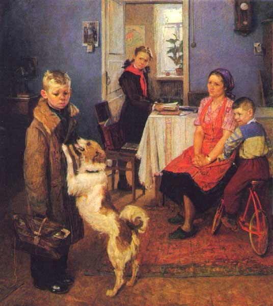 """""""Dvoika again"""" (1952) // Fyodor Reshetnikov // (socialist realism) // #children #dog"""