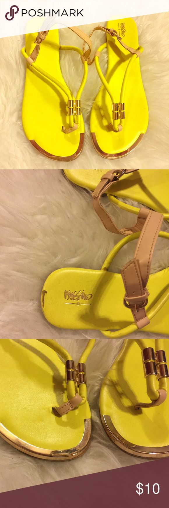 Neon sandals Used once. Still great the only flaws it has is the scratches and the ripped part on the back of the shoe. No trades. Bundle and save! 10 % off bundles! Shoes Sandals