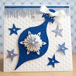 Vánoční přání v modrobílém