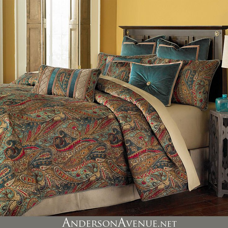 the michael amini seville luxury bedding set features a rich color palette and all over velvet