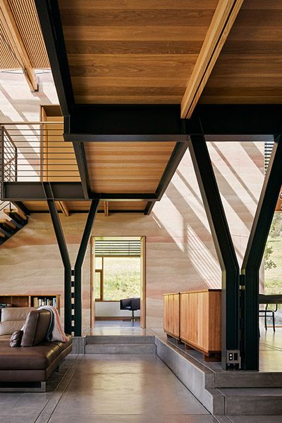 Wood is used throughout the interior of this modern Californian retreat
