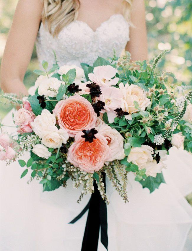 Romantic garden rose bouquet with a black silk ribbon
