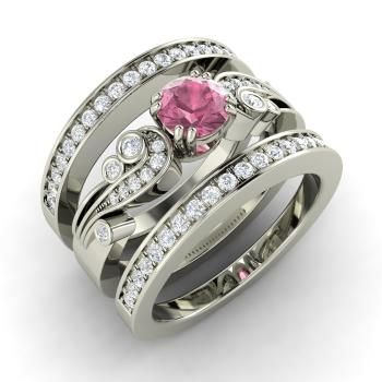 Round Pink Tourmaline  and Diamond  Bridal Set Ring in 14k White Gold