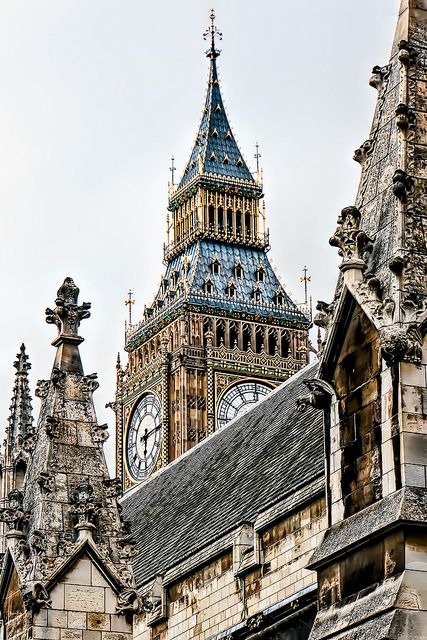 Clock tower rising over Westminster, London, England -- by Cat Man!