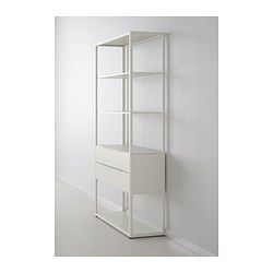 FJÄLKINGE Shelving unit with drawers - IKEA -clean airy book storage with a little drawers space for $200.. Nice!