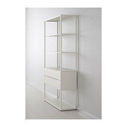IKEA - FJÄLKINGE, Open kast met lades, , De lange, fraaie planken geven de kast een licht, luchtig uiterlijk en de zuivere, eenvoudige lijnen maken dat hij makkelijk te combineren is met veel meubelstijlen.De plank is sterk en duurzaam omdat hij is gemaakt van staal.De planken zijn in hoogte verstelbaar en de opberger is eenvoudig aan te passen aan wat je wilt opbergen.De ingebouwde demper zorgt dat de lade langzaam, stil en zachtjes sluit.
