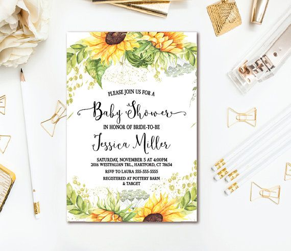 sunflower baby shower invitation country rustic baby shower printable invite