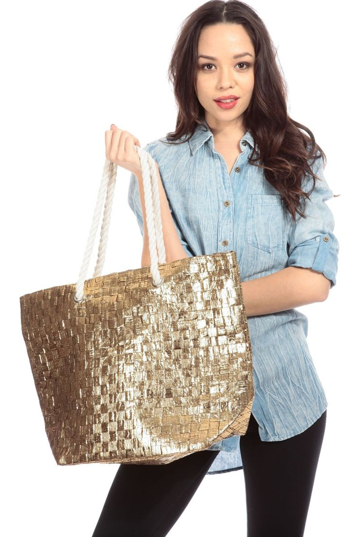 Metallic Gold Basket Weave Tote Bag @ Cicihot Handbags online store sales:Women's handbag,Cheap handbags,Oversize handbag,Leather handbag,Handbag Purse,Leather tote,Suede Bag