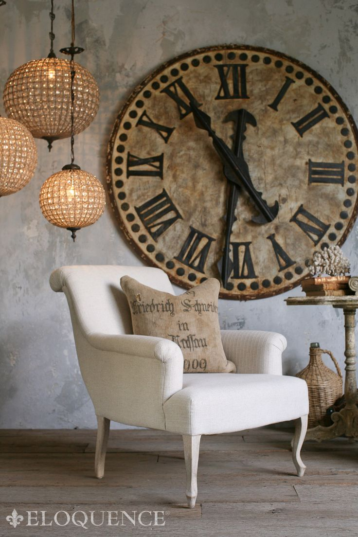 Oversize Clock - Limewash Walls - Burlap Pillow - Linen Chair in style of Restoration Hardware / Shabby Chic Eloquence