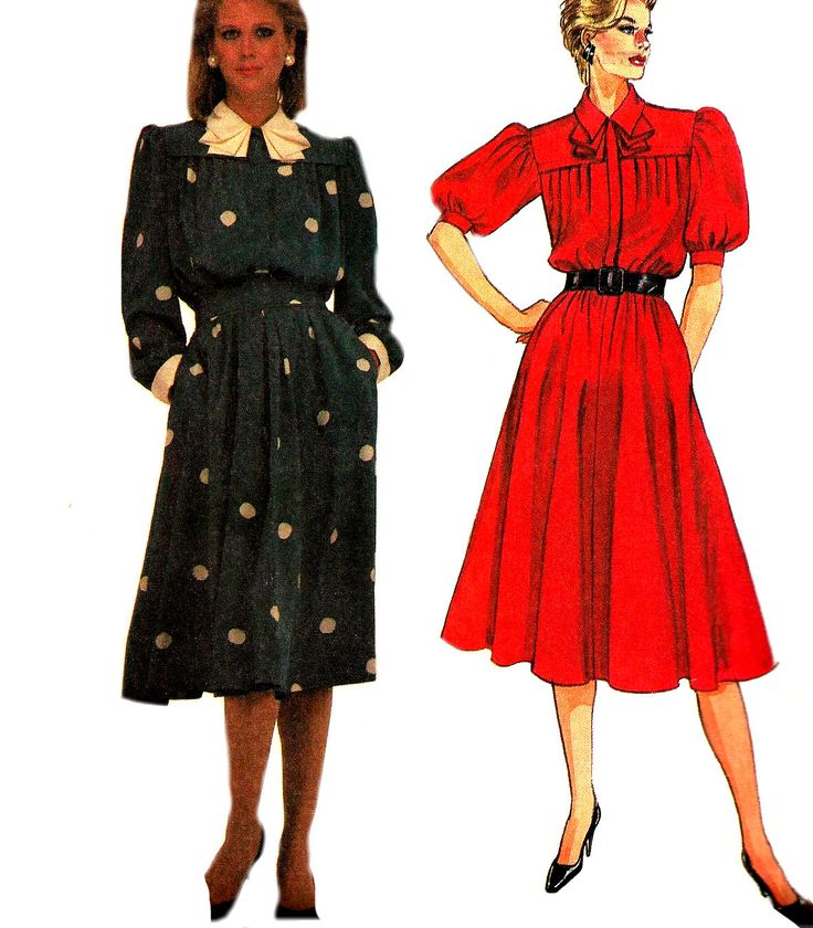 1980s Dress Pattern McCall's Modest Vintage Sewing Uncut Flared Skirt Women's Misses Size 12 - 16 Bust 34 - 38 Inches by SelmaLee on Etsy