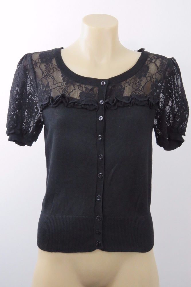 Size M 12 Portmans Ladies Black Knit Top Cardigan Retro Chic Pinup Gothic Style  | eBay