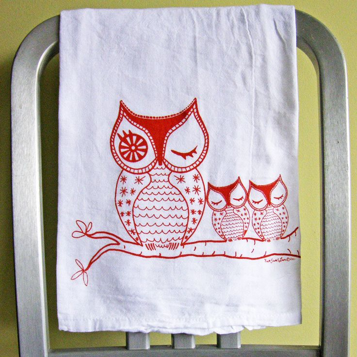 Sleeping Owl Family Tea Towel | dotandbo.com #DotandBoDream