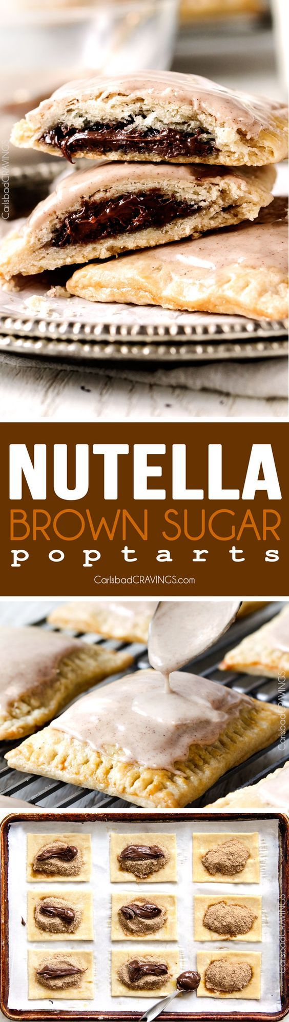 Melt in-your-mouth Nutella Brown Sugar Pop Tarts with from scratch buttery, flaky pastry smothered with Cinnamon Vanilla Icing are 1000X better than store-bought and so good you will never go back to the box kind again!