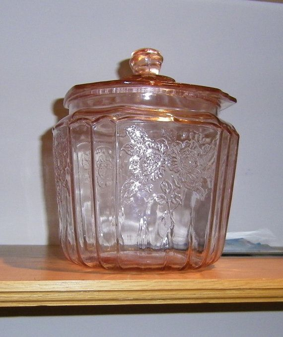 Vintage Pink Depression Glass Cookie/ by NenesUniqueAntiques,