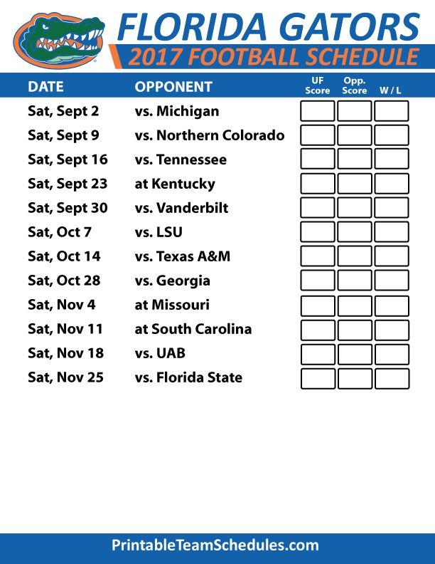 2017 Florida Gators Football Schedule