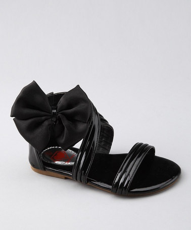 Take a look at this Diamond Footwear Black Ribbon Sandal by Sweet Feet: Girls' Footwear on #zulily today!