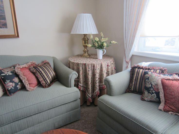 Custom Tablecloth with Decorative Table Overlay, Reupholstered Sofa & Loveseat, Custom Decorative Throw Pillows, Custom Draperies with Tassel Tie Backs