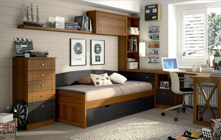 habitacion juvenil madera y azul | Dormitorios juveniles Colonial madera | Muebles Ibáñez - tienda de ...