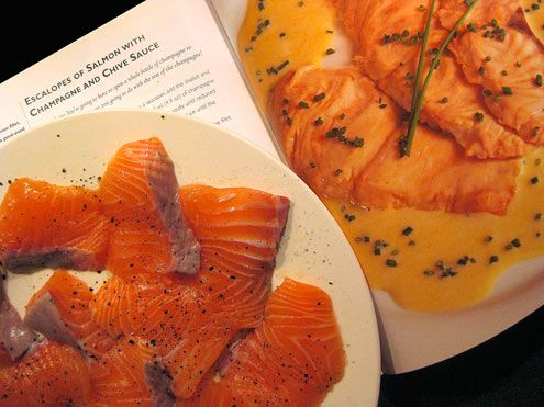 Escalopes of salmon with champagne & chive sauce