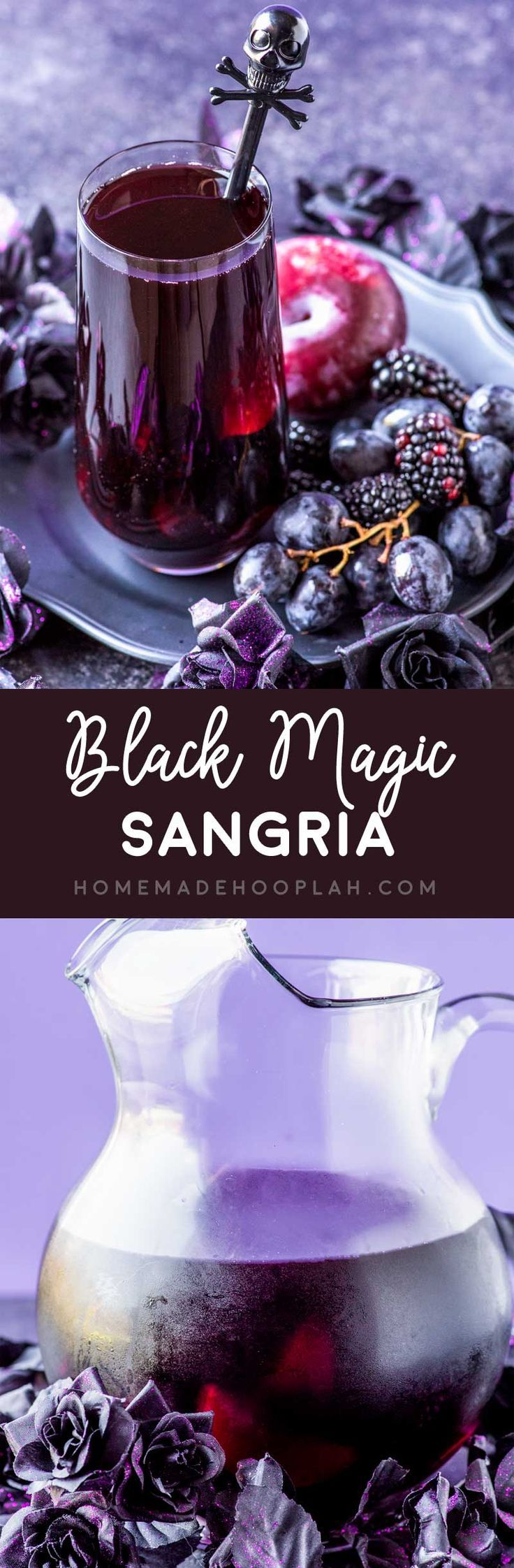 Black Magic Sangria! This black magic drink is a purple punch mixed with blackberries, black grapes, and black plums. Can be made tart or sweet. | HomemadeHooplah.com