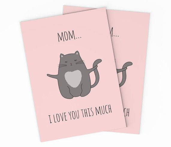 Printable Cat Mother's Day Card  Digital Love Mom