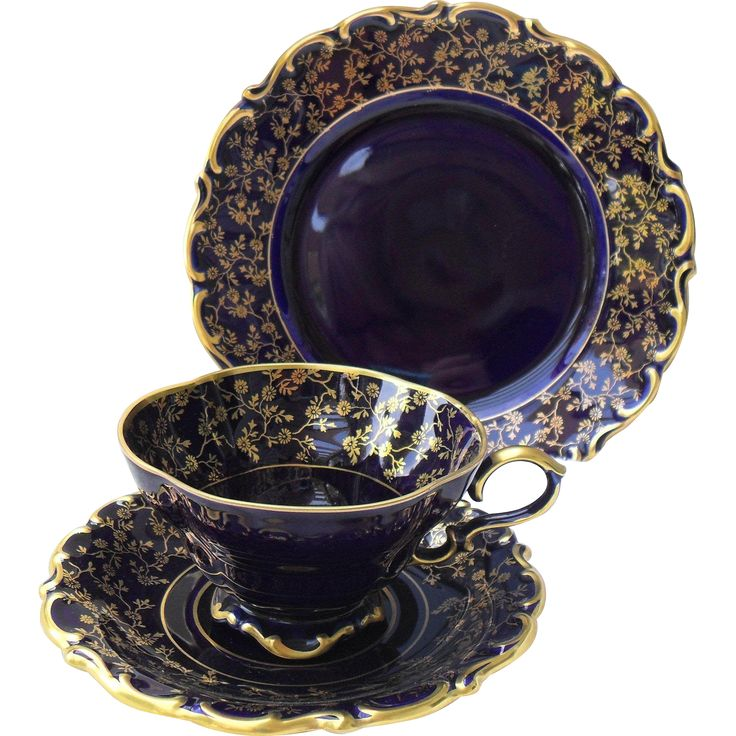 Lindner Bavaria Germany Eicht Cobalt Blue and Gilt Teacup Saucer and Plate Trio #mondayblues -- found at www.rubylane.com #vintagebeginshere
