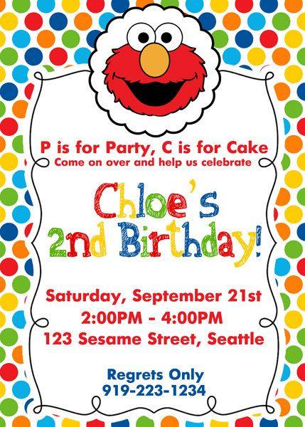 ELMO Birthday Invite Elmo Birthday Invitation by SewKawaiiKids