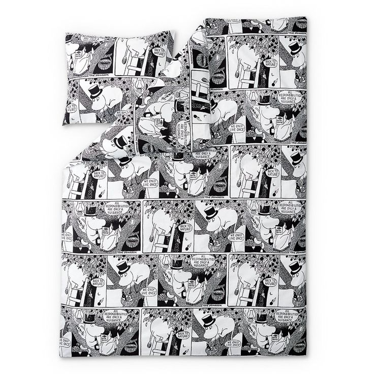 New Comic Moominpappaduvet cover set by Finlayson presents Moominpappain a stylish black and white comic pattern. Delightful details make this bed linen set a truly beautiful addition to yourbedroom. The Finlayson fabric is 100% cotton.Size: Duvet cover 150 x 210 cm