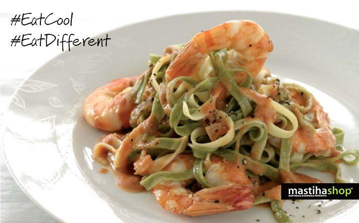 #Summer #recipe #pasta with #shrimps and #mastiha #Chios #Island #taste